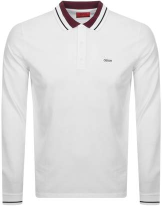 HUGO Donol 201 Long Sleeved Polo T Shirt White