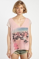 Rebel Yell Beach Boyfriend Tie Tee in Vintage Pink