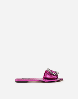 Dolce & Gabbana Mordore Nappa Sliders With Bejeweled Buckle