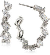 Carolee Silver-Tone Marquise Crystal Hoop Earrings