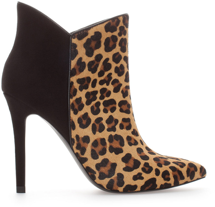 Zara Leather Combination Leopard Print High Heel Ankle Boot