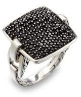 John Hardy Classic Chain Black Sapphire & Sterling Silver Cushion Ring