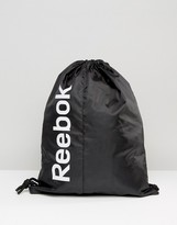Reebok Drawstring Backpack In Black Ab1270