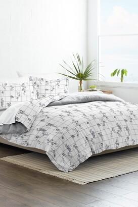 IENJOY HOME Home Collection Premium Ultra Soft Flower Field Pattern 3-Piece Reversible Duvet Cover Set - Gray