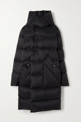 Rick Owens Hooded Quilted Shell Down Coat - Black