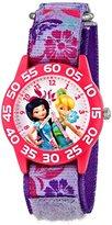 Disney Kids' W001185 Fairies Time Teacher Watch with Printed Purple Nylon Band
