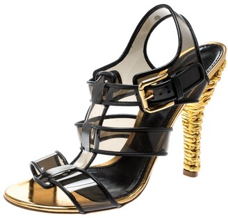 Dolce & Gabbana Black PVC And Leather Strappy Woven Detail Heel Sandals Size 41
