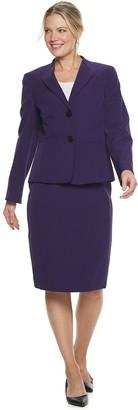 Le Suit Women's Crepe Jacket & Slim Skirt Suit Set