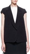 Lanvin Cap-Sleeve Button-Front Jacket, Black
