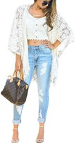 Maxwell Women's Bohemian Loose Lace Floral Kimono Beachwear Cardigan Blouse Top