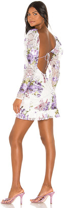 For Love & Lemons Wildflower Foil Lace Mini Dress
