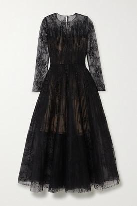 Oscar de la Renta Bead-embellished Lace And Organza Gown - Black
