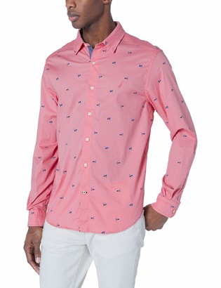 Nautica Men's Long Sleeve Printed Stretch Cotton Button Down Shirt