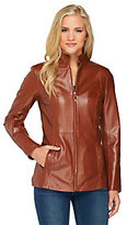 As Is Dennis Basso Lamb Leather Zip Front Jacket w/ Stand Collar