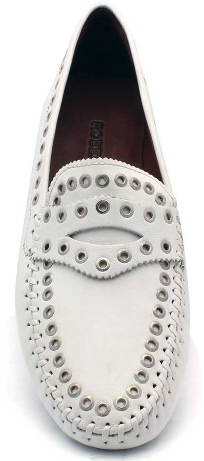 """Robert Zur Tene"""" White Leather With Grommets Driving Loafer"""