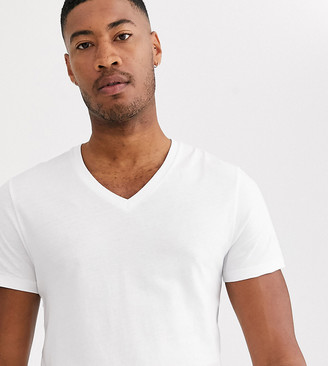 ASOS DESIGN Tall t-shirt with v neck in white