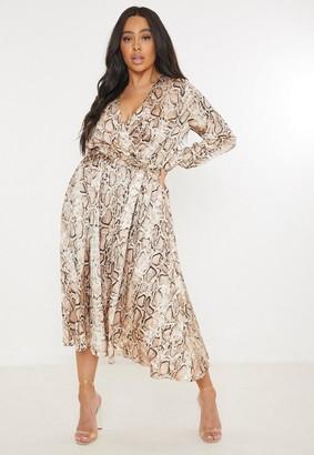 Missguided Plus Size Brown Snake Print Satin Wrap Midi Dress