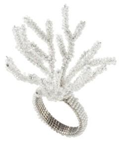 Saro Lifestyle Dinner Napkin Ring with Beaded Design, Set of 4