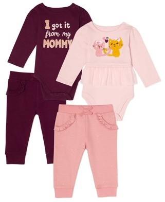 Garanimals Baby Girl Short Sleeve Bodysuit & Sweatpants Muti Pack, 4-Piece