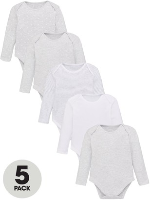 Very Baby Unisex 5 Pack Long Sleeve Essential Grey Mix Bodysuits - Grey