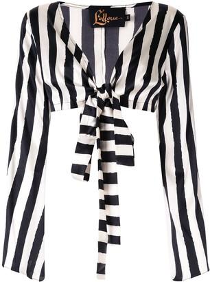 Lelloue Striped Wrap Top