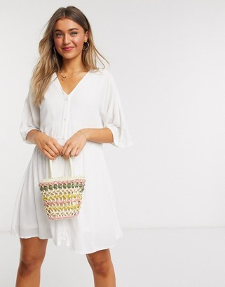 In The Style x Jac Jossa v neck trapeze mini dress in white