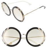 Alice + Olivia Women's Beverly Crystal 53Mm Special Fit Round Sunglasses - Black/ White