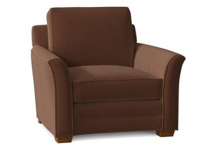"Bradington-Young Carroll 42"" Wide Genuine Leather Armchair Fabric: Triomphe Almond Roca, Leg Color: New Classiques"