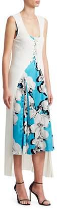 Roberto Cavalli Orchid Print Dress with Knit Cardigan