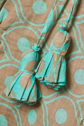 Yvonne S Ruffled Printed Linen Maxi Dress - Green