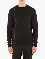 Raf Simons Black Embroidered Detail Roundneck Sweater