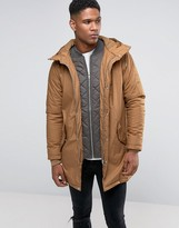 Pull&Bear Parka Jacket In Camel