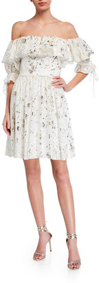Love, Theia Foil Printed Chiffon Off-the-Shoulder Ruffle Dress