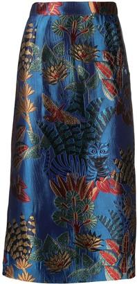 Stella Jean Printed High-Waisted Midi Skirt