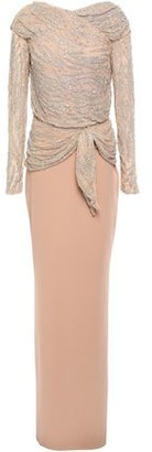 Rachel Gilbert Ruched Embellished Tulle And Crepe Gown