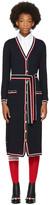 Thom Browne Navy Tipping Stripe Rib Stitch Cardigan Dress