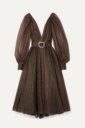Monique Lhuillier Belted Embroidered Metallic Tulle Midi Dress - Dark brown