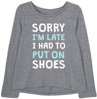 Instant Message Girls' Tee Shirts ATHLETIC - Athletic Heather 'I Had to Put on Shoes' Long-Sleeve A-Line Tee - Toddler