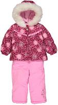 London Fog Pink Floral Puffer Coat & Bib Pants - Infant, Toddler & Girls