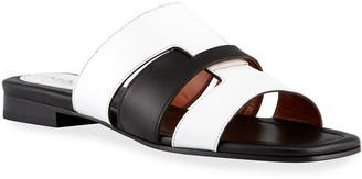 MANU Atelier 15mm Bicolor Woven Leather Flat Sandals