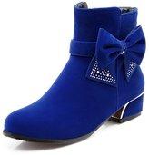 BalaMasa Womens Spun Gold Bowknot Glass Diamond Electroplate Heel Imitated Leather Boots