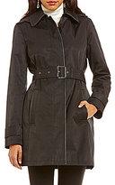 Lauren Ralph Lauren Faux Leather Piped Hooded Rain Trench Coat