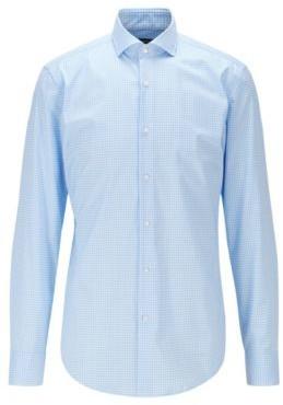 HUGO BOSS Slim Fit Gingham Shirt In Easy Iron Cotton Poplin - Light Blue