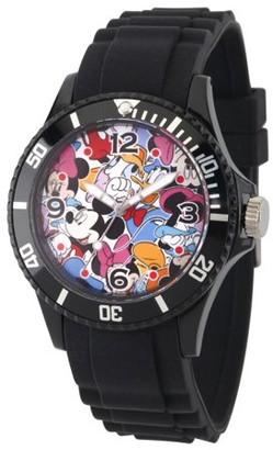Disney Mickey Mouse, Minnie Mouse, Daisy Duck and Donald Duck Men's Black Plastic Watch, Black Bezel, Black Plastic Strap