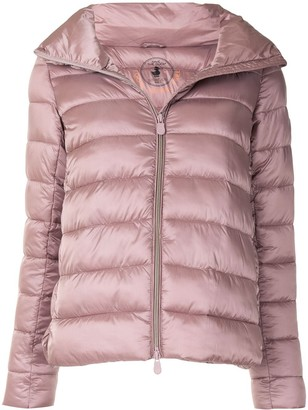 Save The Duck Light Mock Neck Quilted Jacket