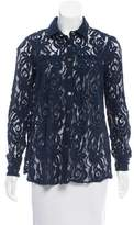 Matthew Williamson Semi-Sheer Lace Button-Up