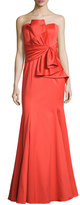 Badgley Mischka Strapless Sweetheart Cascade Ruffle Gown, Orange