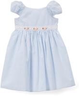 Laura Ashley Blue & White Stripe Cap-Sleeve Dress - Infant & Girls
