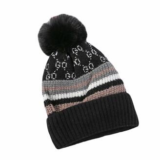 Dawwoti Lady's Faux Fuzzy Fur Ribbed Hat Pompom Skull Cap Stretch Baggy Hat (Black One Size)