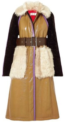 Marni Shearling-paneled Crinkled Patent-leather Coat